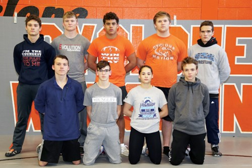 Back row, left to right, Kilroy Hill, Chris Taylor, Deuce Morton, Joseph Kechter, and Andrew Fontanez. Front row, left to right, Heath Owens, Holden Roaten, Tyesha Thomas, and Hunter Morrell.