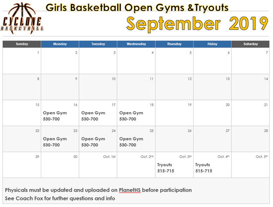 open gym and tryouts 2019-20